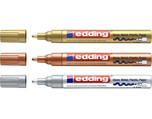 EDDING 750 Lackmarker 3er Sparpaket   9 Farben & Sortierte zur Auswahl! (3er Set, Sortiert Metallic)