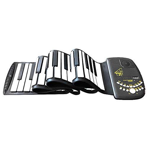 HM2 Roll Up Piano, 88 Tasten Elektronische Orgel Flexible Tasteninstrumente, Elektronisches Tastaturklavier, für Kinder und Erwachsene - Schwarz