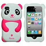3D global Cute Pink Panda Etui en silicone Soft Skin Jelly pour Apple iPhone 4 4G 4GS 4S