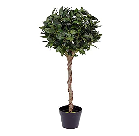 Blooming Artificial - Faux Bay Laurel Tree, 3ft / 90cm, UV Stable Outdoor Artificial Topiary, Decorative Twisted Natural Wood Stem, Green Bay Leaf Foliage - Perfect For Homes &