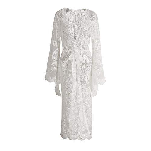 YYF Damen Bohemien Strand Strickjacke Frau Einfarbig Spitze Lange Ärmel Übergroß Lange Cardigan Kimono Mantel Blumen Lose Outwear
