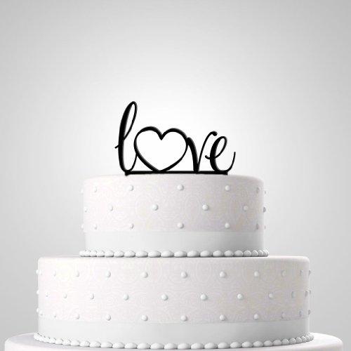 Tortendekoration zur Hochzeit - Tortenfigur 'Love' schwarz