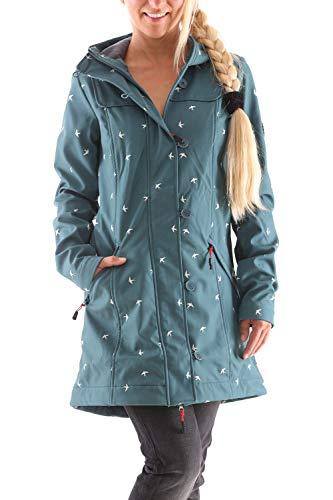 Blutsgeschwister Wild Weather Long Damen Jacke Mantel, Größe:XL, Farbe:Grün (Fly to The Sky)