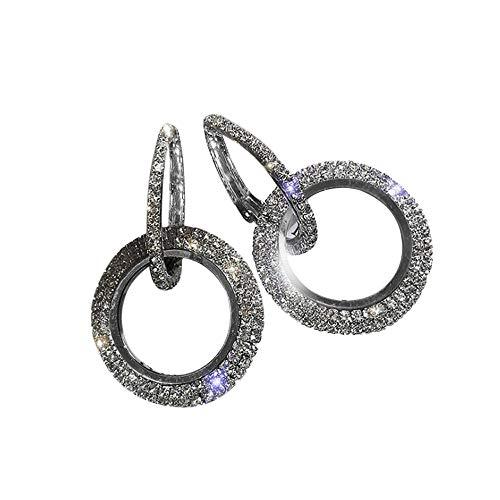 SMILEQ Luxus Runde Diamant Ohrringe Frauen Silber Gold Rosegold Glitter STU Ohrringe (Schwarz)