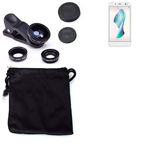 K-S-Trade Für BQ Aquaris VS Plus 3in1 Clip-On Kamera Adapter für BQ Aquaris VS Plus Macro Weitwinkel FishEye Fischauge Objektiv Linse Smartphone Objektivset