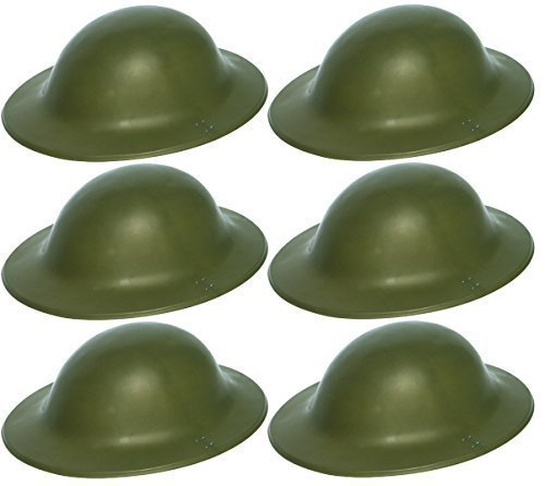 6 x grün Britische Armee Soldat Helm 2. WELTKRIEG Zweiter Weltkrieg Tommy Verkleidung Kostüm Zubehör (Gedenkstätten Perfekte)