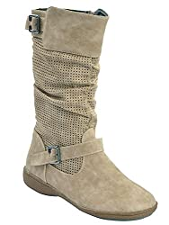 Shuberry Latest Footwear Collection, 10.9 inches Length Comfortable & Fashionable Slouch Boots with Dots Pattern Side Zip For Womens & Girls - (Beige)