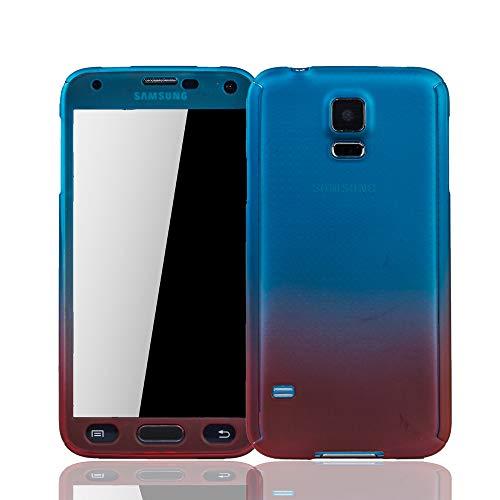 König Design Handy-Hülle Kompatibel mit Samsung Galaxy S5 / S5 Neo Schutz-Case Full-Cover 360 Rundum Schutz 9H Panzer Schutz Glas Blau/Rot (Glas-handy Cover-galaxy S5)