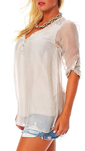 Malito Damen Bluse Aus Seide | Tunika mit ¾ Armen | Blusenshirt mit Spitze | Edles Oberteil �?Shirt 6705 Beige