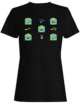 Jukebox, patrón, Plano de fondo camiseta de las mujeres g847f