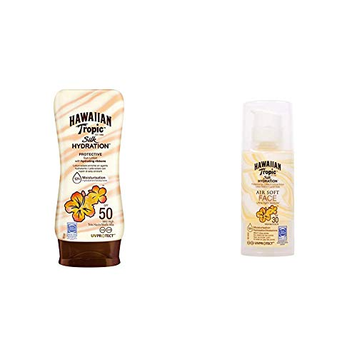 Spf 12 Gesichts-lotion (Hawaiian Tropic Silk Hydration Protective Sun Lotion Sonnencreme LSF 50, 180 ml, 1 St + Silk Hydration Sun Lotion Air Soft Face Sonnencreme LSF 30, 50 ml, 1 St)