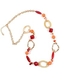 9e1f1b9c96cb Conjuntos de collar y aretes de bisutería 14 K chapado en oro cadena de eslabones  2 capas de cristal de madera acrílico…