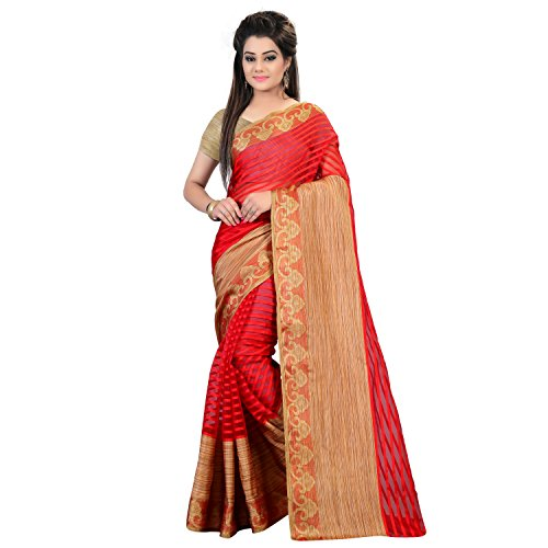 Glory Sarees Silk Cotton Saree (Silk101Red_Red And Beige)