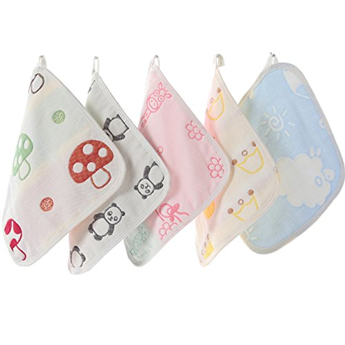 Baby-artikel Natürliche (Affe 4 Stücke Niedliche Baby Waschlappen Natürlichem 6 Layers Baumwolle- Gaze Wiederverwendbar Babytücher)