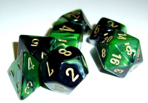 Polyhedral Dice: Gemini 4 Black-Green w/ Gold