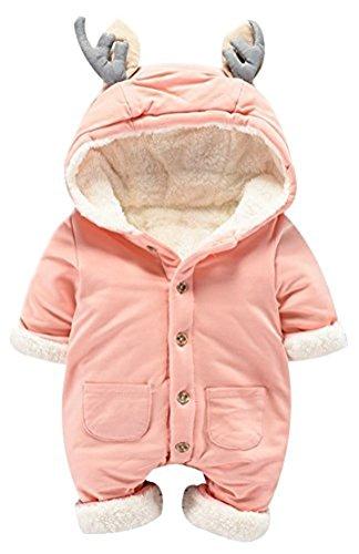 Ghope Baby Schneeanzug mit Kapuze Niedliche Kalbhörner Strampler Jumpsuit Overall Mädchen Junge Winter Gefüttert Kunstfleece Mantel 0-12 Monate, Rosa1 66(0-3 Monate)