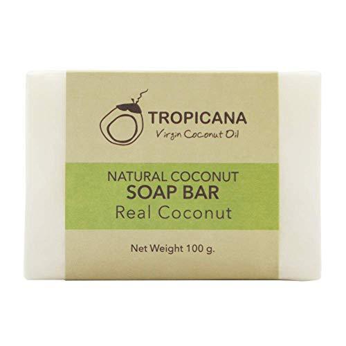 Tropicana Oil Natürliche Kokosnuss Bio Seife 2 x 100g | Natives Kaltgepresstes Bio-Kokosöl | Feuchtigkeitspflege | Veganes Naturprodukt Detox Handgemachte Duschseife | Vegan Ohne Parfum&Palmöl