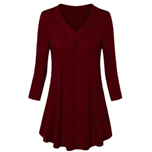 SEWORLD 2018 Damen Mode Sommer Herbst Beiläufige Schal Übergröße Solide V-Ausschnitt Langarm Plissee T-Shirt Tops Bluse(z-a-weinrot,EU-44/CN-XL)