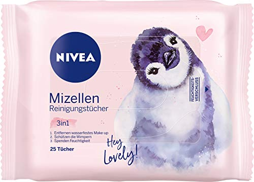 Nivea 3-in-1 Mizellen Reinigungstücher, sanfte und Abschminktücher spenden Feuchtigkeit und Schutz, Edition Pinguin, 1er Pack (1 x 25 Stück)