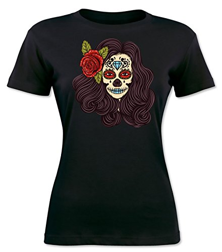 Creepy Girl With Flower In Her Hair Women's T-shirt Extra Large (Halloween-make-up Black Lips)