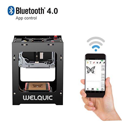 Welquic 1500mw Laser Graviermaschine 6000mAh Laser Gravur Drucker Lasergravierer Lasergravur Maschine Unterstützung von Win 7, XP, Win 8, Win 10, iOS 9 und höher, Android 4.0 und höher Bluetooth4.0 (Gravur-laser-maschine)