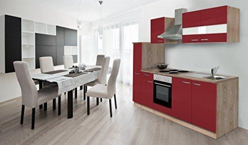 respekta Küche Küchenzeile Einbauküche Küchenblock 240 cm Eiche Sägerau Rot