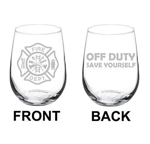 Verre de vin Goblet deux Face Fire Department Pompier éteint Duty Save Yourself (311,8 gram sans pied)