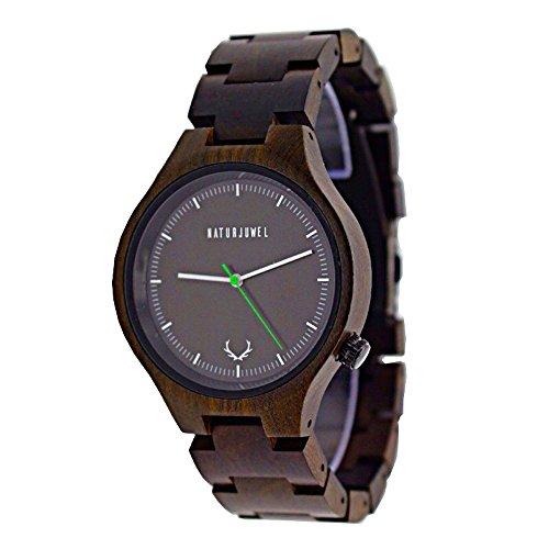 Naturjuwel Holzuhr Herren braun Armbanduhr aus Holz Quarz analog mit Holzarmband und Aufbewahrungsbox sowie Stiftausschläger -