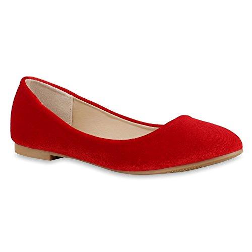 Klassische Damen Pailletten Ballerinas Schleifen Rot Velours