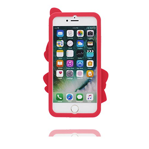 "iPhone 6 Plus Coque, Étui Cover Housse pour iPhone 6s Plus 5.5"" [Cartoon 3D nuages blancs] Gel TPU Shell iPhone 6 Plus Case (5.5"") et ring Support Résistant à la poussière Scratch - Rainbow Colorful rouge"