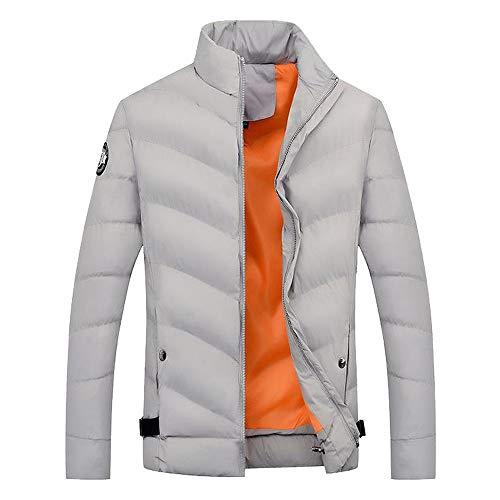 Hommes garçons Occasionnels Chaud col Mandarin Slim Veste de survêtement Epais Manteau Hiver Casual Sweatshirt Sport Blouse Blouson Pardessus Gris XL