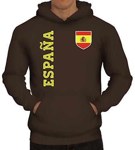 Spanien Spain Fußball WM Fanshirt Gruppen Herren Hoodie Männer Kapuzenpullover Fan Trikot Espana, Größe: S,braun