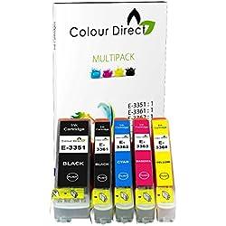 Colour Direct - 1 Conjunto ( 5 Tintas ) - 33XL Compatible Cartuchos de tinta Para Epson XP-530 XP-540 XP-630 XP-635 XP-640 XP-645 XP-830 XP-900 Impresoras. Replaces Orange series . 1 X 3351 1 X 3361 1 X 3362 1 X 3363 1 X 3364