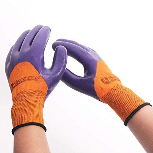CJJ Industrielle Handschuhe, verschleißfestes getauchtes Nylon, NBR, halbklebend, rutschfeste, trockene Arbeitshandschuhe, Geeignet für BAU, Gartenarbeit, Ofen