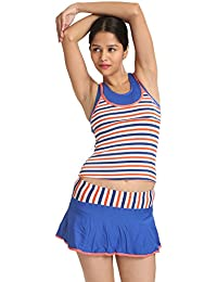 Classy Cut-Sleeve Scoop Neck Camisole Tankini Top Skirted Bottom-Swimsuit