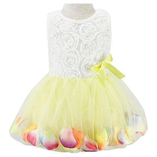Tutu Kleid Girl Prinzessin süße mini Spitze Party Flower Gewand Tüll Rock für Kinder Gr. 120 cm, gelb (Black Kids Tutu)