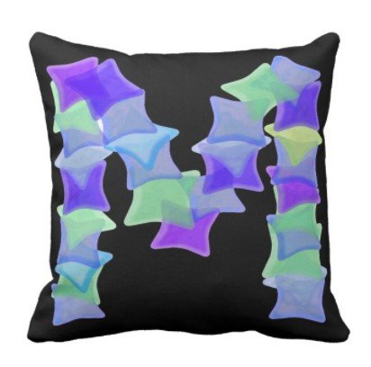 perfecone Home Improvement Pillowcase Letter M, Blue seaglass mosaic squares Design for Sofa and car Pillow case 1 Pack 18x18 inch