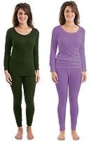 Set Of 2 Colours Womens/Ladies Thermal Underwear Set Long Sleeve Vest & Pants, Emerald & Lilac