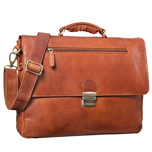 STILORD 'Carter' Vintage Businesstasche Leder Groß Lehrertasche Aktentasche Schultasche Bürotasche Herren Damen Aufsteckbar, Farbe:girona - braun