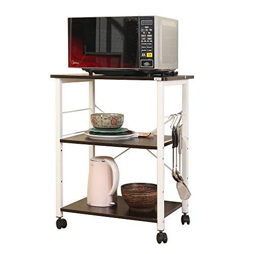 sogesfurniture 3 tier carrello da cucina per forno a microonde mensola dellorganizzatore nero w4 bk bh