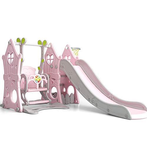 3 in1 Kinder Spielplatz Schaukel mit Rutsche und Basketballkorb Kombination für Indoor/Outdoor Garten Rutschbahn,pink