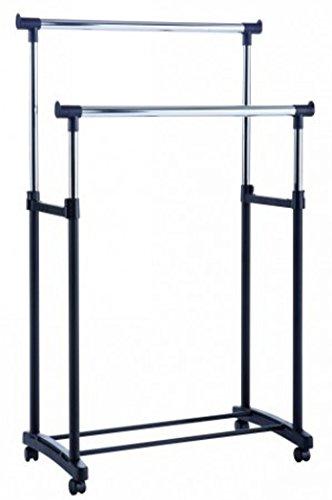 PEGANE Soldes Portant pour vêtements Double Coloris Noir, 90 x 79,5 x 43 cm