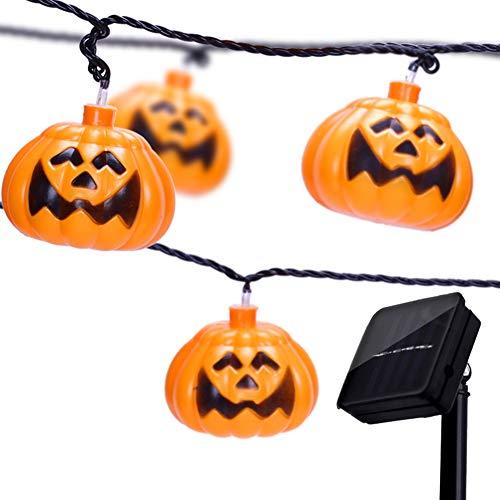 WO NICE Halloween Lichterketten Kürbislaterne Solarenergie Umweltschutz wasserdichte LED-Lichterkette Geeignet für Party Halloween