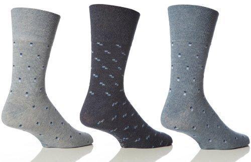 6 Paar Herren Leichte Griff Waben Top Socken Nicht Elastisch by Drew Brady / Verschiedene Farbe Designs zum Auswählen / UK Größen 6-11 und 12-14, Blau - Blue Logos, UK 6-11 Eur 39-45 (Socke Logo Über)