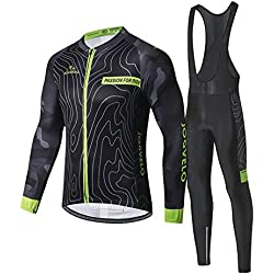 JOGVELO Maillot Ciclismo, Ropa Ciclismo Conjunto Hombre Mangas Largas Jersey + Culotes Ciclismo Reflectante Transpirable, L