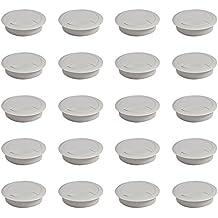 Emuca 3196321 - Lote de 20 pasacables circulares diámetro 60mm para encastrar en escritorio/mesa en plástico, color gris