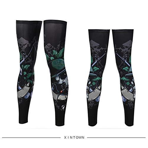 JinRui-Sport Tattoo Sleeve Ice Silk Sonnencreme Beinmanschette Fuß, L, Schädel Soldat 2 Packungen