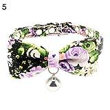 Danigrefinb Hundehalsband, für Katzen, Welpen, mit Fliege und Glöckchen, Blumen-Halsband, Stoff, Zinklegierung und Messing