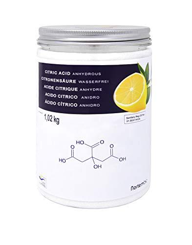 Zitronensäure 1,02 kg, reine Lebensmittelqualität. NortemBio. CE – Produkt