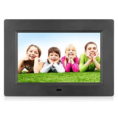 MRQ 7 Zoll Digitaler Bilderrahmen Full HD IPS Bildschirm Elektronischer Fotorahmen Video Musik Foto Player mit Uhr/Kalender-Funktion, Auto on/Off Timer, USB und SD-Karte